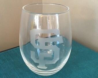 Set of 4 San Francisco Giants Wine Glasses