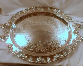 Very Rare Antique Barbour Silver Co. Large Handled Footed Serving Platter, 1800's