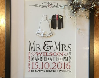 Valentines Day, Wedding Gift - Anniversary Present, Wedding Day Keepsake - Gift for Wife or Husband - Gift for Him or Her