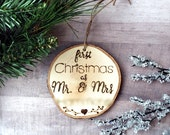 Wood Ornament - Customizable Ornament- First Christmas - Mrs and Mrs - Christmas Ornament - Wood Ornament - Rustic Christmas Decor