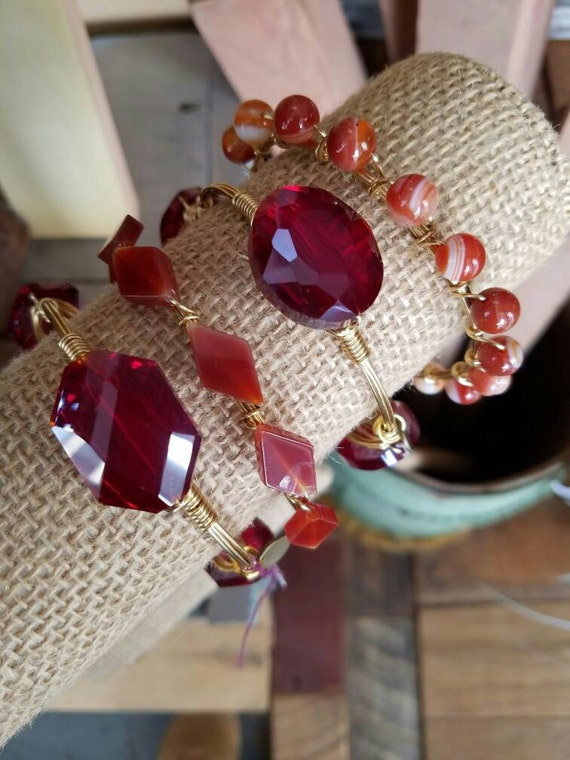 Red Crystal and Agate Gemstone Bangle Stack, glass crystal bangles, agate beads, gemstone bangles, bangle stacks, Valentine's Day jewelry