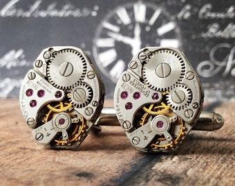 Steampunk Cufflinks, Watch Part Cufflinks, Silver Cufflinks, Steampunk Jewelry, Watch Movements, Silver Watch, Men's Jewelry, Wyler Watch