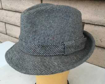 Vintage Men's Tweed Fedora by Dorfman-Pacific Size 6 3/4-6 7/8