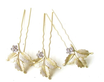 3 x Gold Leaf Hair Pins Bridal Silver Diamante Laurel Fern Wedding Vine Vtg 1150