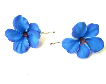 2 x Blue Hibiscus Flower Hair Grips Clips Bridesmaid Bobby Pins Slides 50s 2103