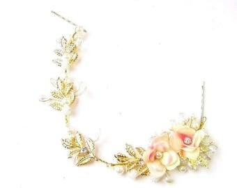 Blush Pink Flower Gold Ivory Pearl Leaf Hair Vine Bridal Headpiece Headband 2625
