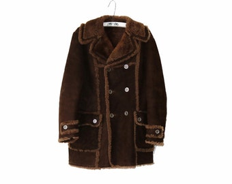 Vintage Sheepskin Coat Mens Outerwear Lambskin Shearling Jacket Brown Real Sheepskin Fleece Clothing Winter Coat Large Size