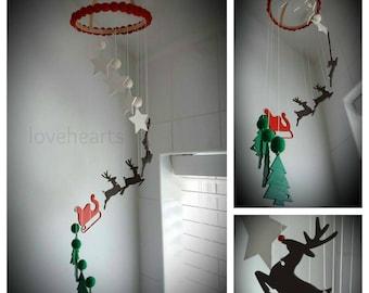 Santa's sleigh cascading mobile, Christmas decoration, Christmas mobile, Magical Christmas decoration.