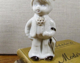 Porcelain Figurine - Little Boy With Hat and Umbrella