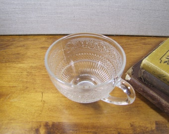 Sandwich Glass Teacup - Scroll and Triangular Pattern