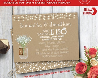 I do shower Invitation kraft rustic are saying I do couples shower engagement rehearsal dinner YOU EDIT text and print yourself invite 14092