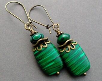 green MALACHITE earrings. Earrings natural stones, Brass. Earrings Dangle. gift for women. Gift for her. Gift to sister.