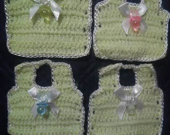 12 Mini Yellow & White Crochet Bibs With White Bow or Mixed Color Pacifiers Baby Shower Capias Favors Decorations - Unisex