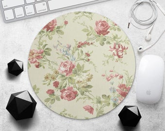 Vintage Flowers MousePad Floral Mouse Mat Colorful Roses Mouse Pad Teacher Gift for Girl Mouse Pad Office Mouse Mat Round Rubber MousePads