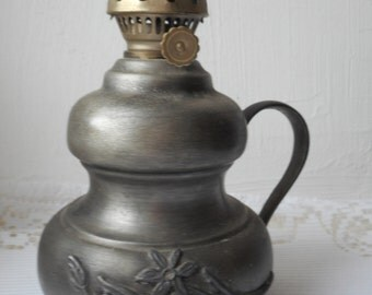 REDUCED TO CLEAR vintage French Etain / pewter oil lamp