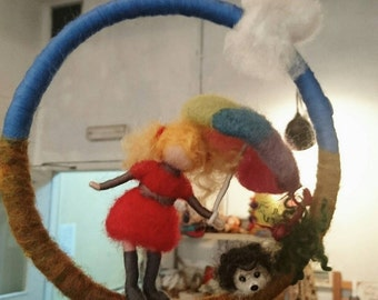 Needle felted girl with umbrella,  Waldorf inspired mobile,  Girl with an umbrella and a hedgehog, Girl in red with a rainbow umbrella