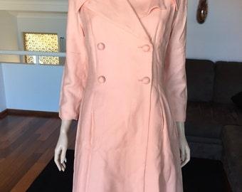 Amazing Glass Beaded Dress And Coat Set Ensemble Vintage Fully Lined (M)