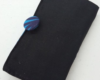 Tea Bag Wallet in Black with Blue Tropical Contrast
