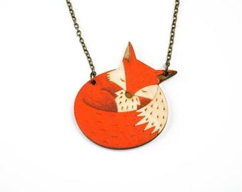 Wooden fox necklace, hand-painted fox, sleepy fox necklace, fox pendant, wooden jewellery