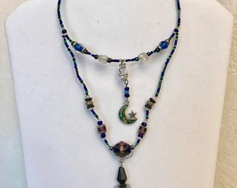 Celtic Moon and Star Blue and Purple Choker