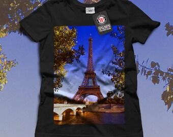 Eiffel Tower France Paris City Women Black White Grey Red Royal Blue T-shirt S-2XL NEW   Wellcoda *q201