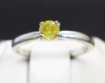 Very Rare Canary Yellow Diamond Engagement Ring (.24cts 3.89mm)  Size 4