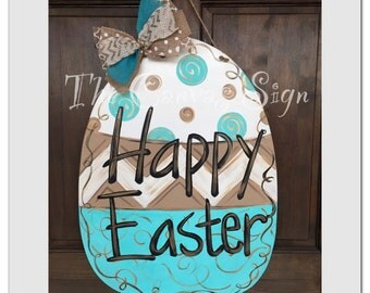 Wooden Polka Dot and Swirl Easter Egg door hanger