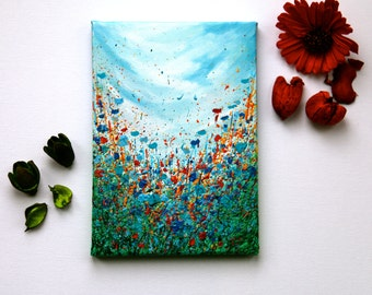 "Miniature Floral Painting, Mini, Flowers, Small Painting, Texture, Gift for her, Blue, Red, Green, Art, ""Summer Glory"" 7x10"" by SFBFineArt"