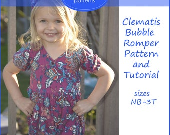 Clematis Bubble Romper Pattern and Tutorial Sewing PDF Pattern Infant and Toddler Bubble Romper
