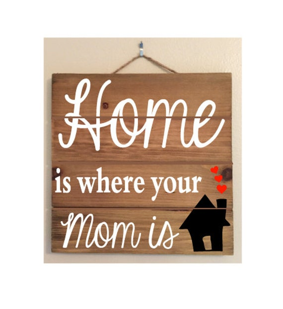 Home Is Where Your Mom Is Custom Wood Sign
