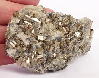 Amazing PYRITE (FOOL'S GOLD) with Quartz on Galena base, Crystal, Mineral