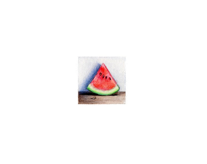 "Print of miniature painting of Watermelon. 1 1/4"" x 1 1/4"" print of original Watermelon painting on 5"" square german etching paper"