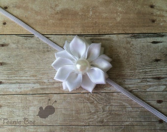 White Pearl Baptism Headband - Christening headband - Baptism headband - White Flower Headband - White Newborn Headband