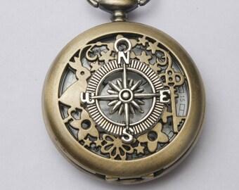 Steampunk pocket WATCH,Alice in Wonderland Pocket Watch Compass Pocket Watch compass Charm Pocket Watch