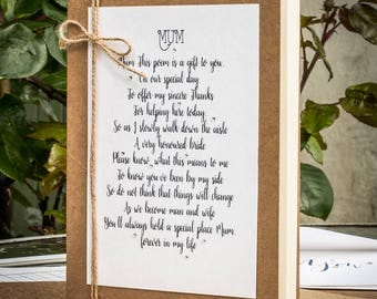 Wedding Poem from the Bride to her Mum, Mom Poem Gift, Mum Poem Card, Mother of the Bride Card, Wedding Card, Gift for Mum, Gift for Mom