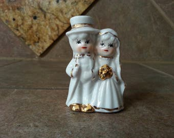 Vintage Porcelain Bride and Groom Wedding Cake Topper, Excellent Condition, 1950's Accented with Gold