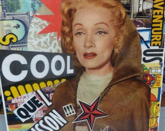 "Original collage, Collage on chassis and art collections, Marlene dietrich, Cool, adventure, thrill, resinated, Collage ""Marlène trippe"""