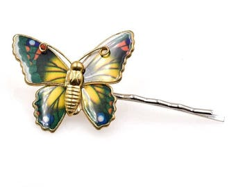 Yellow butterfly bobby pin, hair pin, kirby grips , hair clip, upcycled vintage enamel butterfly brooch pin