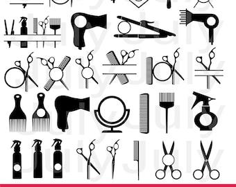 Hairdresser SVG, Hairdresser Tools SVG, dxf, ai, eps, png, Barber Clipart, Hair Salon SVG, Hair Stylist Monogram Frame, Hairdressing