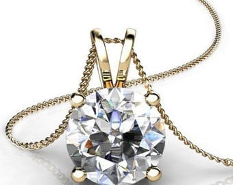 """Gemstone Necklace, Gemstone Necklaces, Gemstones Necklaces, 2.0 ct Simulated Diamond 14K Yellow Gold Solitaire Pendant Necklace + 16"""" Chain"""