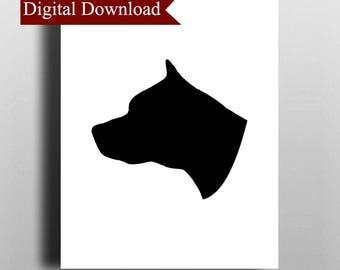 Pitbull Silhouette DIGITAL Print Download