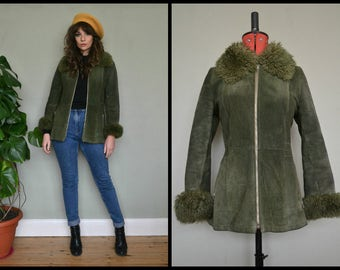Amazing Vintage 1970's Green Suede Afghan Penny Lane Short Coat with Fur Collar and Cuffs.