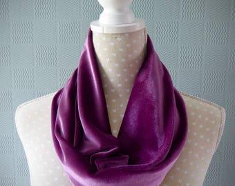 Mauve velvet snood, lilac velvet cowl, loop scarf grape coloured velvet