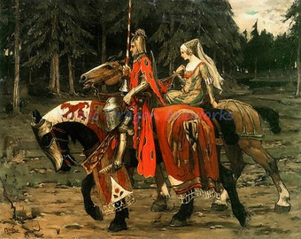 """Alfonse Mucha """"Medieval Knight and Lady"""" 1800s Reproduction Digital Print Knight and Lady on Horseback"""