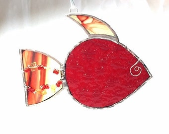 Stained Glass Fish Red