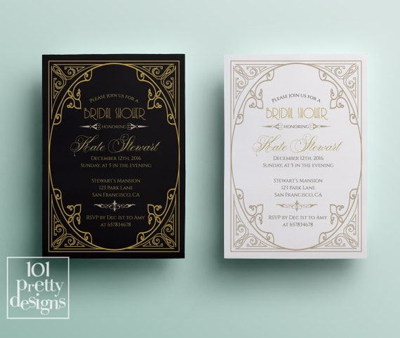 Art deco bridal shower invitation design gatsby bridal shower design il570xn filmwisefo