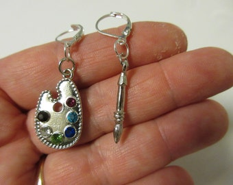 FREE SHIPPING! Silver and Rhinestone Palette and Paint Brush Dangle Earrings-Art Earrings