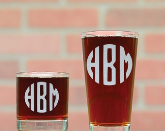Monogrammed Beer Glass and Rocks Glass Set. Custom Monogrammed Home Bar Set. Custom Pint Glass. Custom Whiskey Glass. Groomsmen Gifts