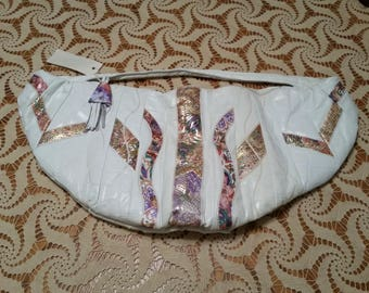 HUGE Vintage 1980's Leather Handbag White  Purse with Crazy Colorful Pattern, Gold Trim Snakeskin Look