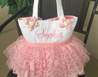 Specialty Lace tutu tote bag, embroidered with full name across the front, snap enclosure and 2 pockets - Medium (11x8) or Large (13x13)